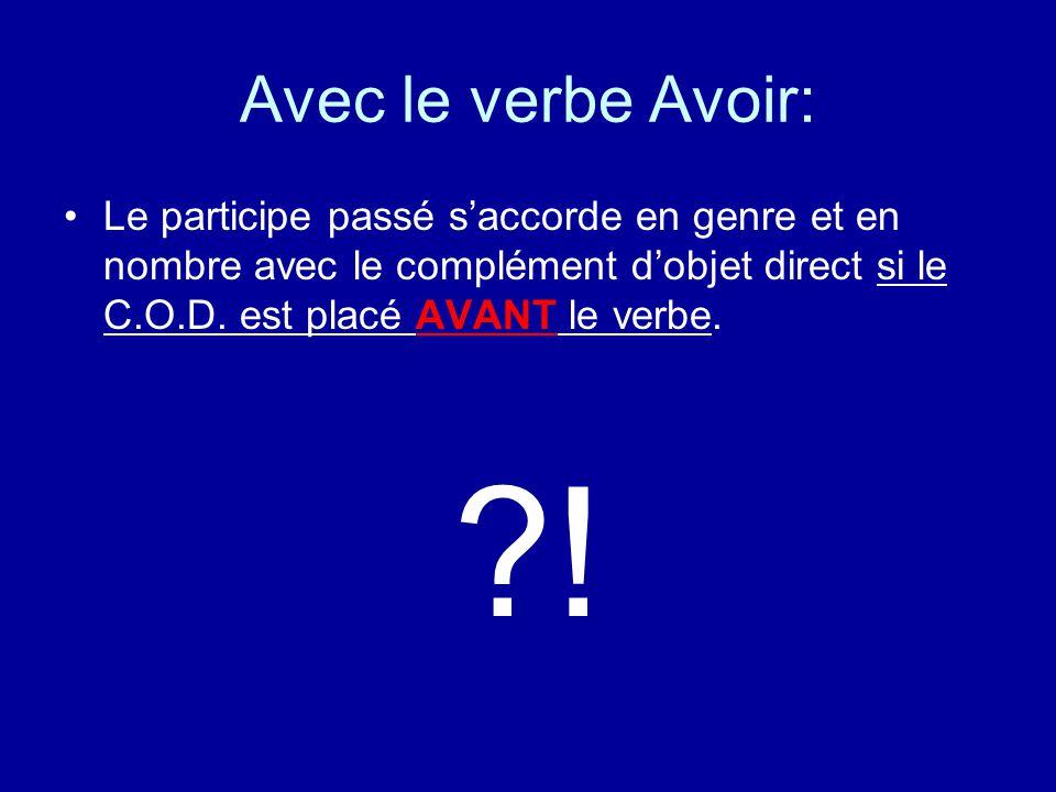 Avec le verbe Avoir: Le participe passé saccorde en genre et en nombre avec le complément dobjet direct si le C.O.D.