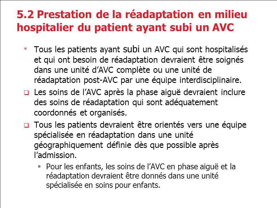 5.2 Prestation de la réadaptation en milieu hospitalier du patient ayant subi un AVC * Tous les patients ayant subi un AVC qui sont hospitalisés et qu