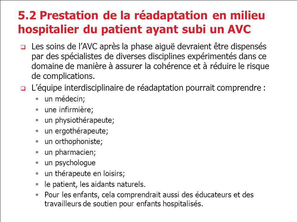 5.2 Prestation de la réadaptation en milieu hospitalier du patient ayant subi un AVC Les soins de lAVC après la phase aiguë devraient être dispensés p