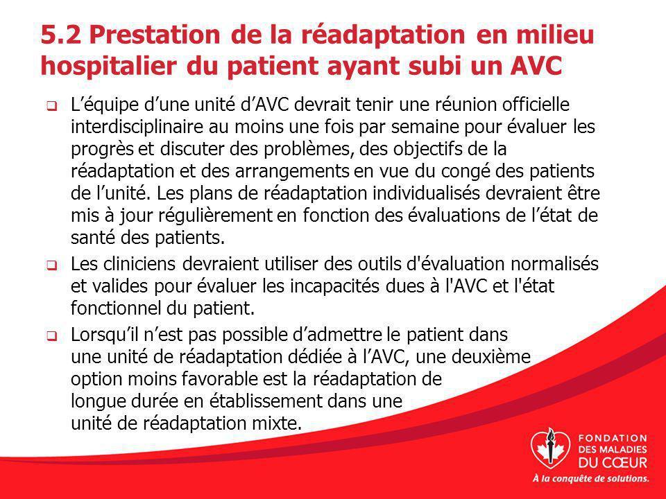 5.2 Prestation de la réadaptation en milieu hospitalier du patient ayant subi un AVC Léquipe dune unité dAVC devrait tenir une réunion officielle inte