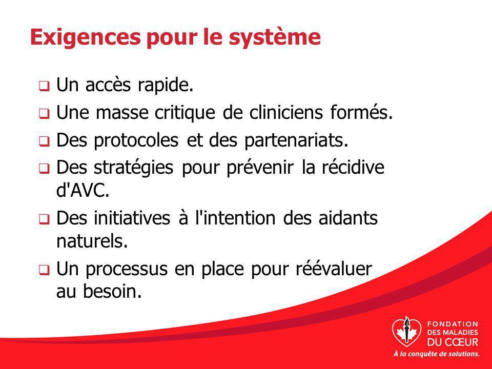 Exigences pour le système Un accès rapide. Une masse critique de cliniciens formés. Des protocoles et des partenariats. Des stratégies pour prévenir l