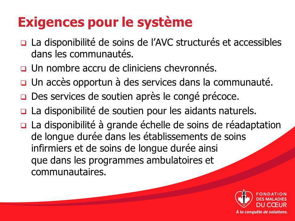 Exigences pour le système La disponibilité de soins de lAVC structurés et accessibles dans les communautés. Un nombre accru de cliniciens chevronnés.