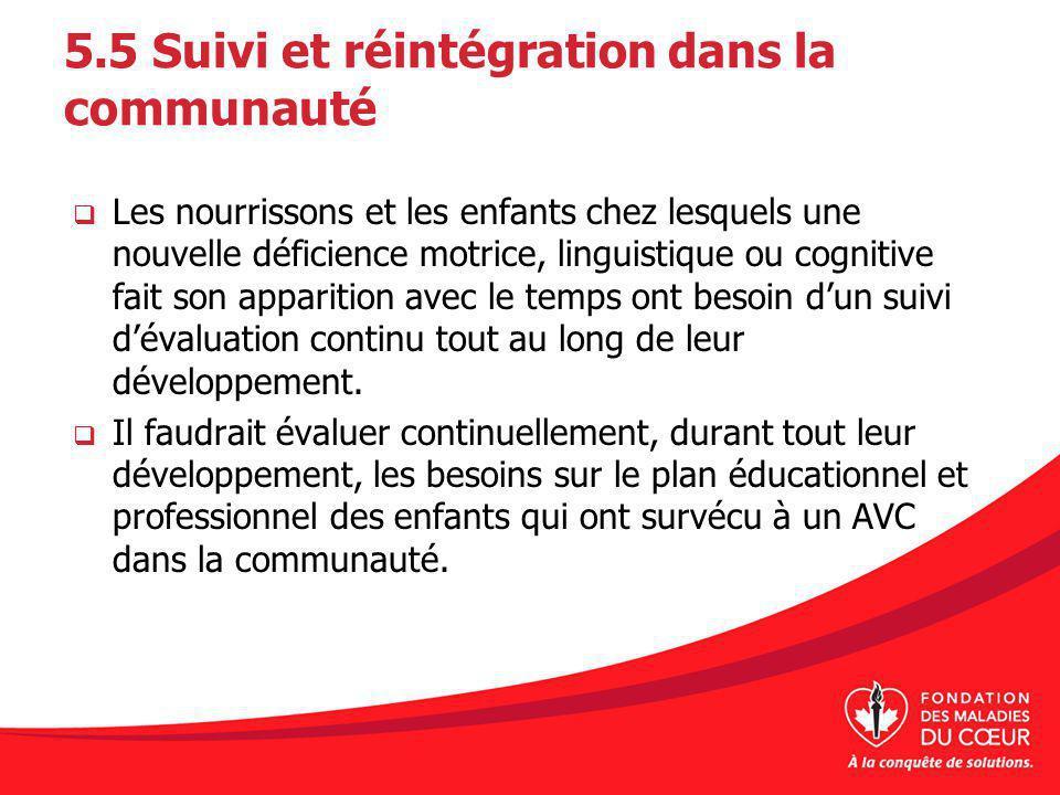 5.5 Suivi et réintégration dans la communauté Les nourrissons et les enfants chez lesquels une nouvelle déficience motrice, linguistique ou cognitive