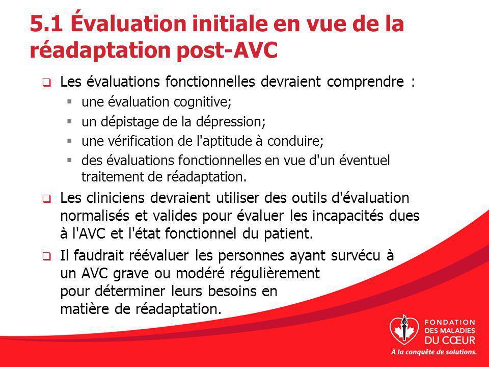 5.1 Évaluation initiale en vue de la réadaptation post-AVC Les évaluations fonctionnelles devraient comprendre : une évaluation cognitive; un dépistag