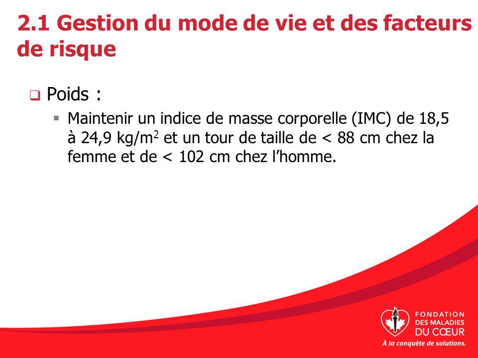 2.1 Gestion du mode de vie et des facteurs de risque Poids : Maintenir un indice de masse corporelle (IMC) de 18,5 à 24,9 kg/m 2 et un tour de taille