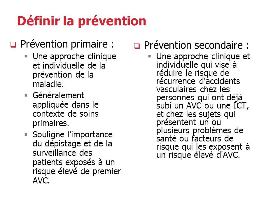 2.0 Prévention de l AVC 2.1 Gestion du mode de vie et des facteurs de risque 2.2 Gestion de la pression artérielle 2.3 Gestion des lipides 2.4 Prise en charge du diabète 2.5 Traitement antiplaquettaire 2.6 Traitement antithrombotique pour la fibrillation auriculaire 2.7 Intervention sur l artère carotide