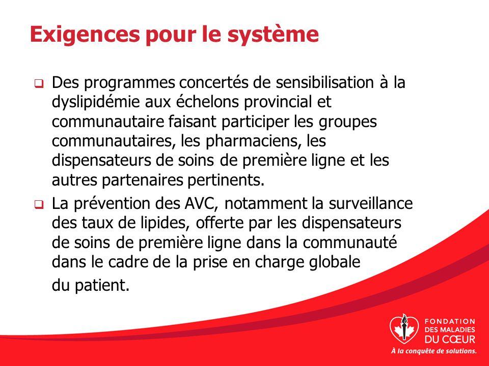 Exigences pour le système Des programmes concertés de sensibilisation à la dyslipidémie aux échelons provincial et communautaire faisant participer le