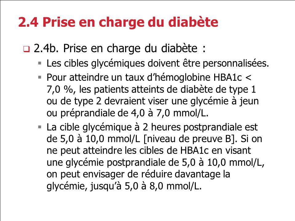 2.4 Prise en charge du diabète 2.4b. Prise en charge du diabète : Les cibles glycémiques doivent être personnalisées. Pour atteindre un taux dhémoglob