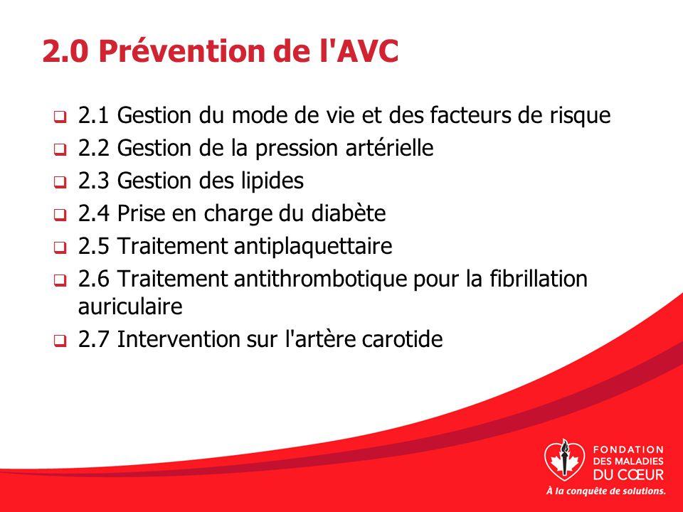 2.0 Prévention de l'AVC 2.1 Gestion du mode de vie et des facteurs de risque 2.2 Gestion de la pression artérielle 2.3 Gestion des lipides 2.4 Prise e