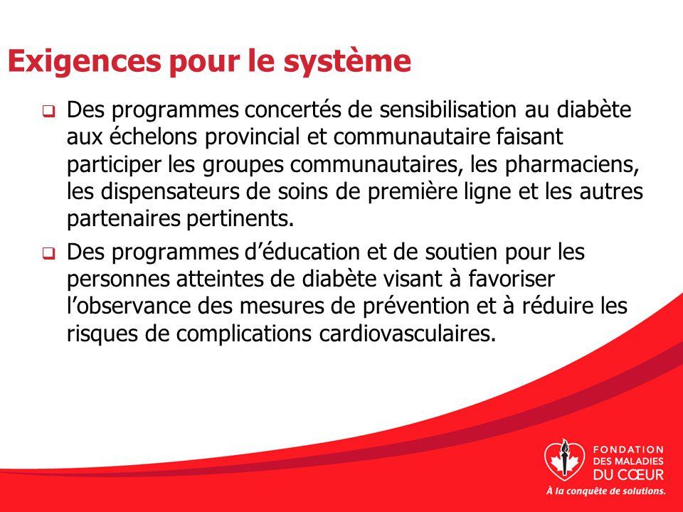 Exigences pour le système Des programmes concertés de sensibilisation au diabète aux échelons provincial et communautaire faisant participer les group