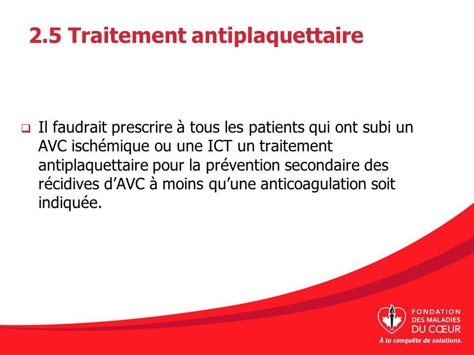 2.5 Traitement antiplaquettaire Il faudrait prescrire à tous les patients qui ont subi un AVC ischémique ou une ICT un traitement antiplaquettaire pou