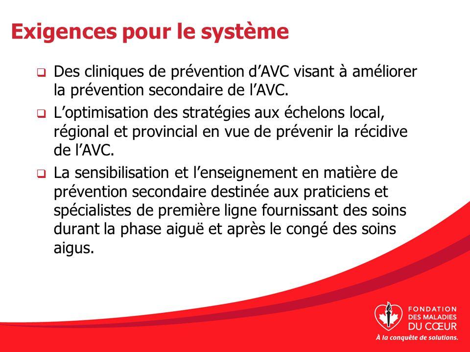 Exigences pour le système Des cliniques de prévention dAVC visant à améliorer la prévention secondaire de lAVC. Loptimisation des stratégies aux échel