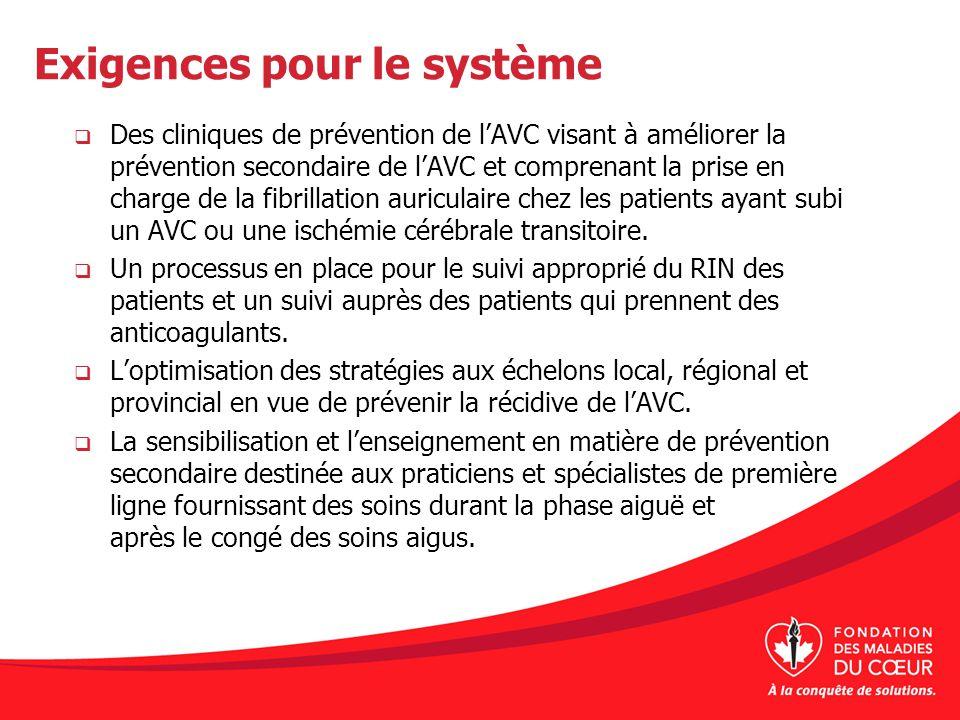 Exigences pour le système Des cliniques de prévention de lAVC visant à améliorer la prévention secondaire de lAVC et comprenant la prise en charge de