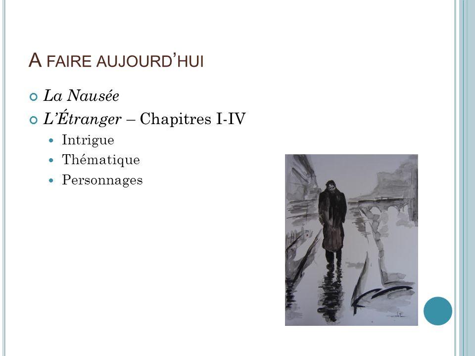 A FAIRE AUJOURD HUI La Nausée LÉtranger – Chapitres I-IV Intrigue Thématique Personnages