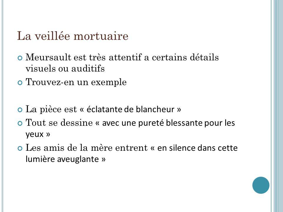 La veillée mortuaire Meursault est très attentif a certains détails visuels ou auditifs Trouvez-en un exemple La pièce est « éclatante de blancheur »