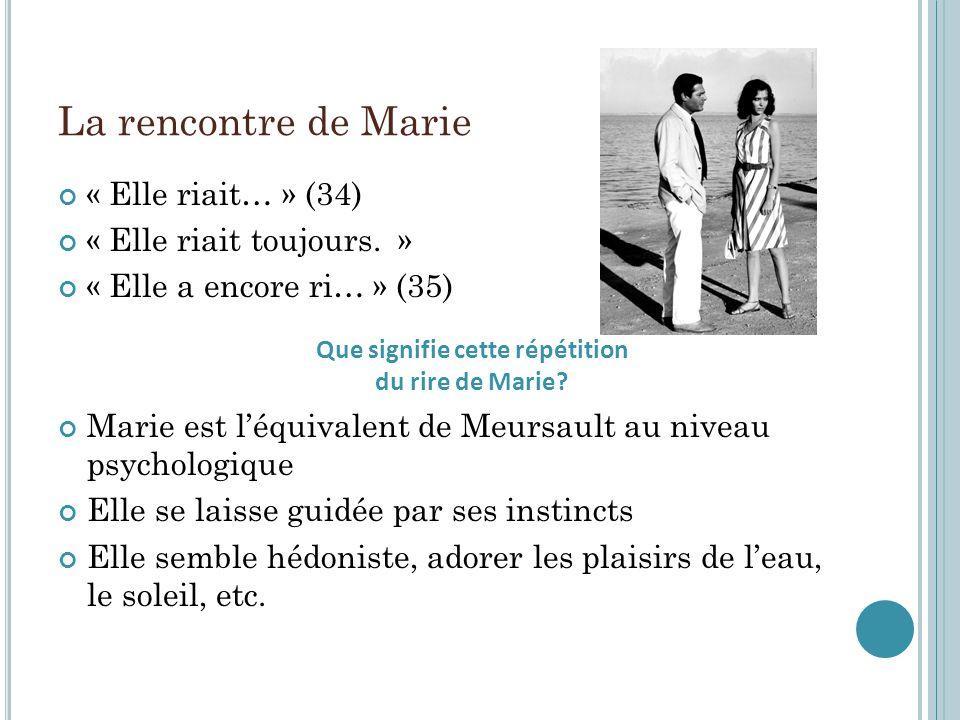 La rencontre de Marie « Elle riait… » (34) « Elle riait toujours. » « Elle a encore ri… » (35) Marie est léquivalent de Meursault au niveau psychologi