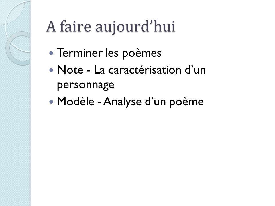 A faire aujourdhui Terminer les poèmes Note - La caractérisation dun personnage Modèle - Analyse dun poème