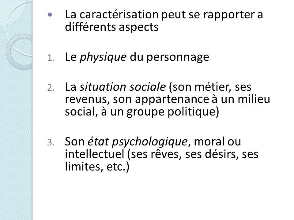 La caractérisation peut se rapporter a différents aspects 1. Le physique du personnage 2. La situation sociale (son métier, ses revenus, son appartena