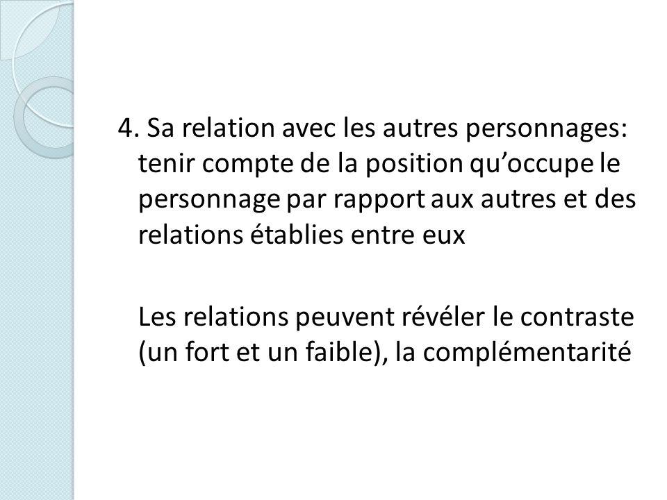 4. Sa relation avec les autres personnages: tenir compte de la position quoccupe le personnage par rapport aux autres et des relations établies entre
