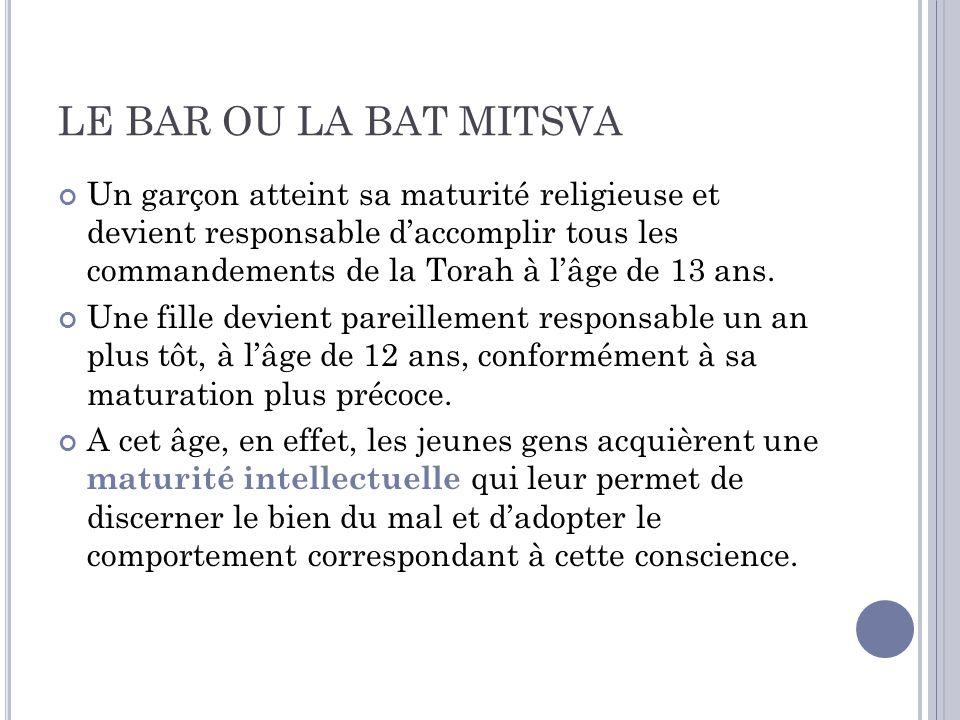La signification Bar Mitsva signifie littéralement « fils de la Mistva », ce qui décrit bien létat du jeune homme à qui il incombe désormais daccomplir toutes les Mitsvot (commandements).