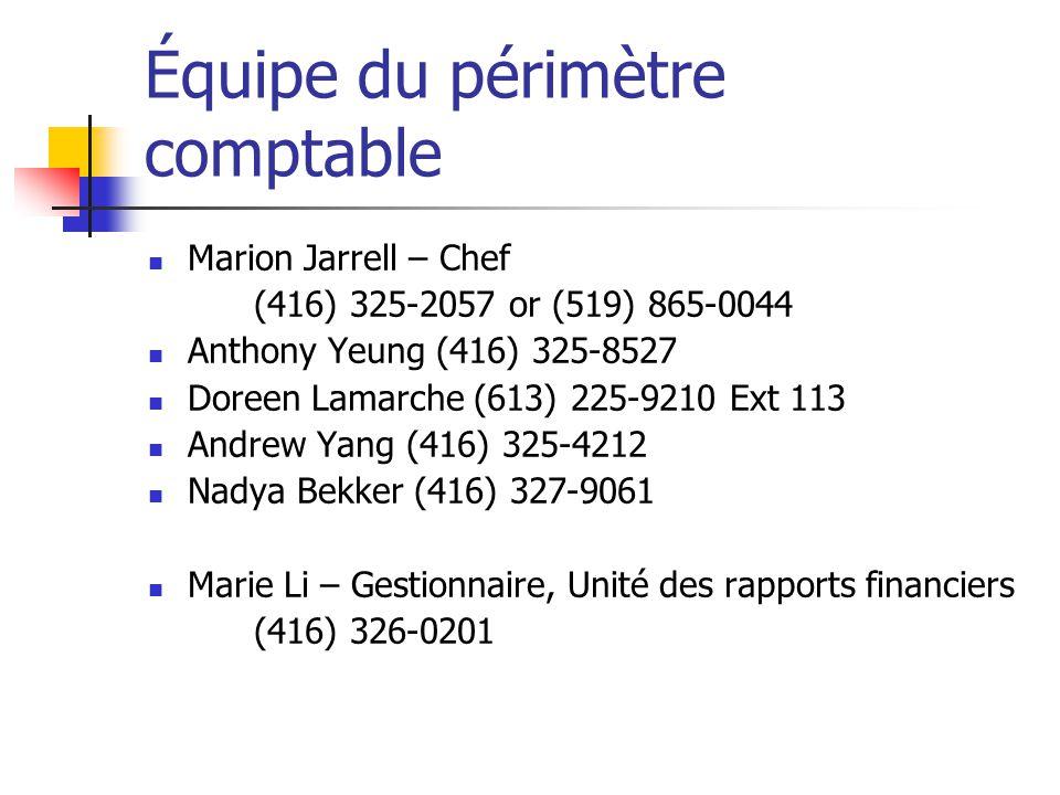 Équipe du périmètre comptable Marion Jarrell – Chef (416) 325-2057 or (519) 865-0044 Anthony Yeung (416) 325-8527 Doreen Lamarche (613) 225-9210 Ext 1