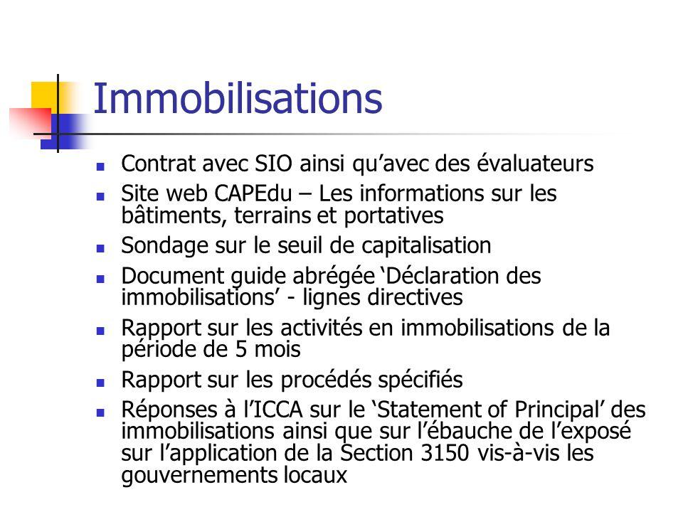 Immobilisations Contrat avec SIO ainsi quavec des évaluateurs Site web CAPEdu – Les informations sur les bâtiments, terrains et portatives Sondage sur
