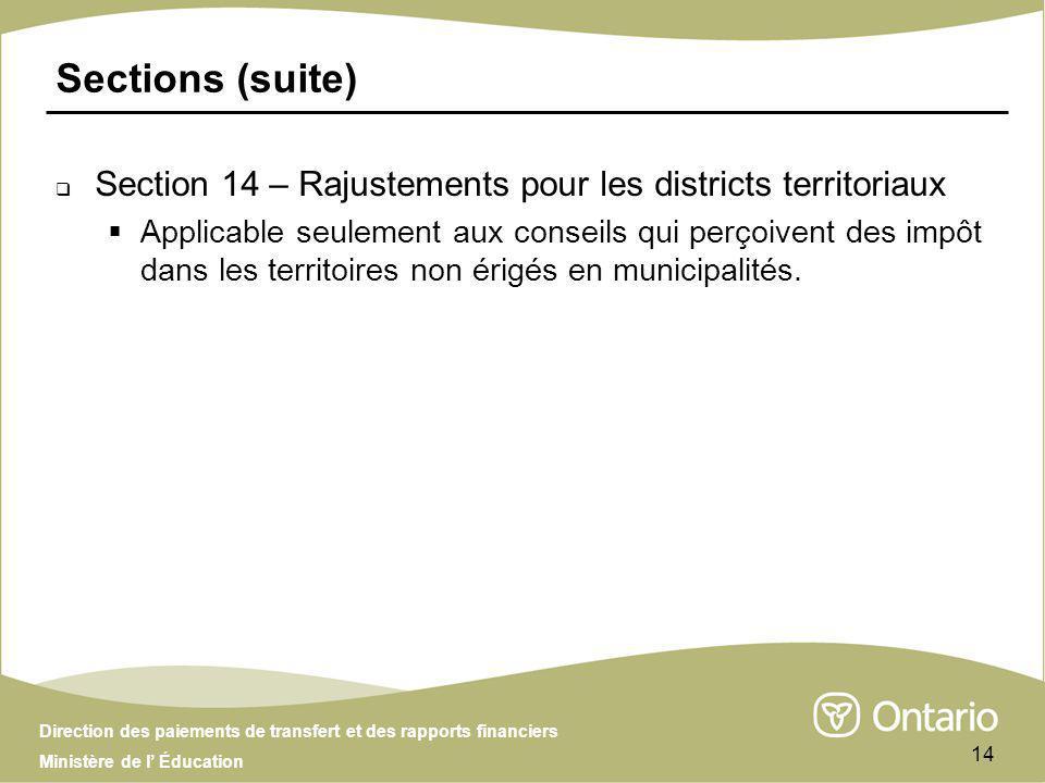 Direction des paiements de transfert et des rapports financiers Ministère de l Éducation 14 Sections (suite) Section 14 – Rajustements pour les districts territoriaux Applicable seulement aux conseils qui perçoivent des impôt dans les territoires non érigés en municipalités.