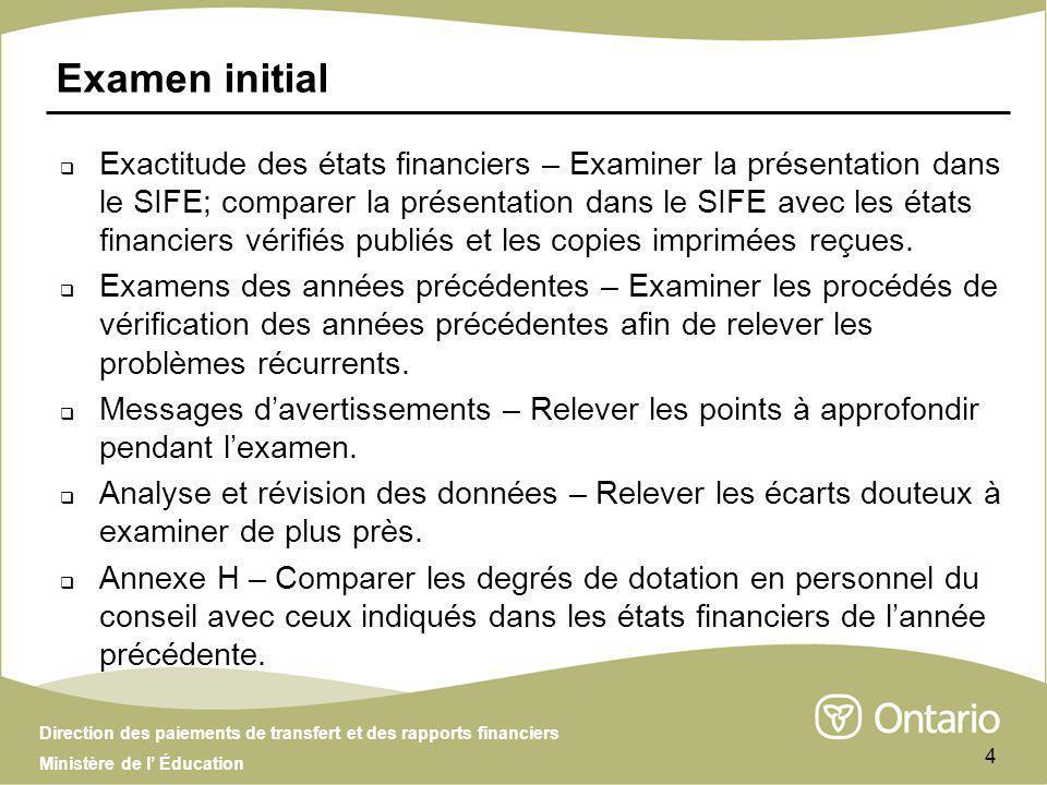 Direction des paiements de transfert et des rapports financiers Ministère de l Éducation 4 Examen initial Exactitude des états financiers – Examiner l