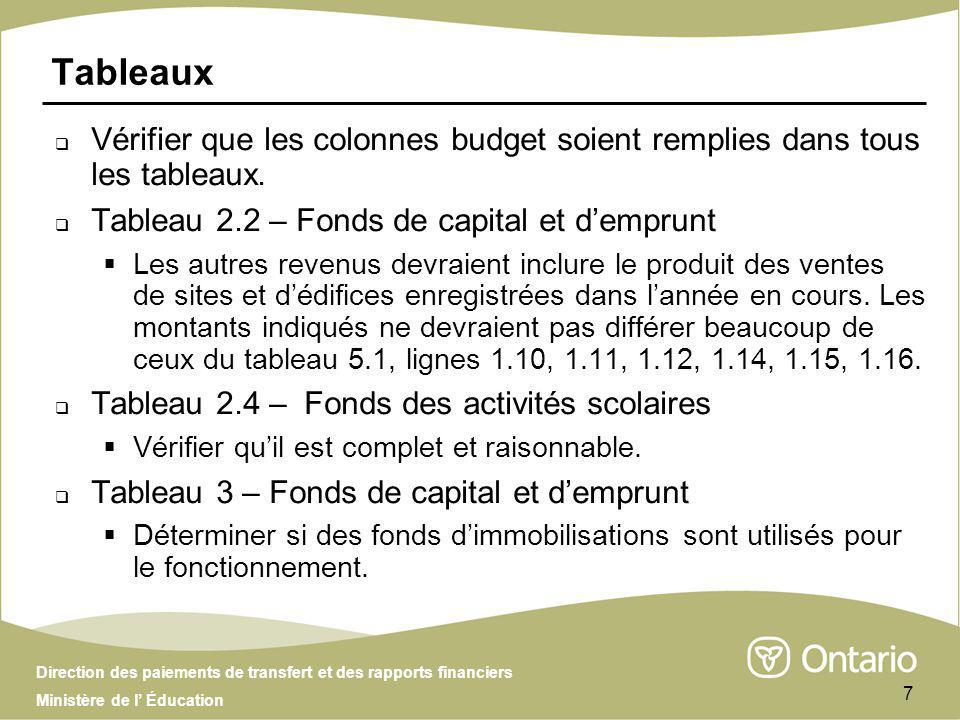 Direction des paiements de transfert et des rapports financiers Ministère de l Éducation 18 Questions