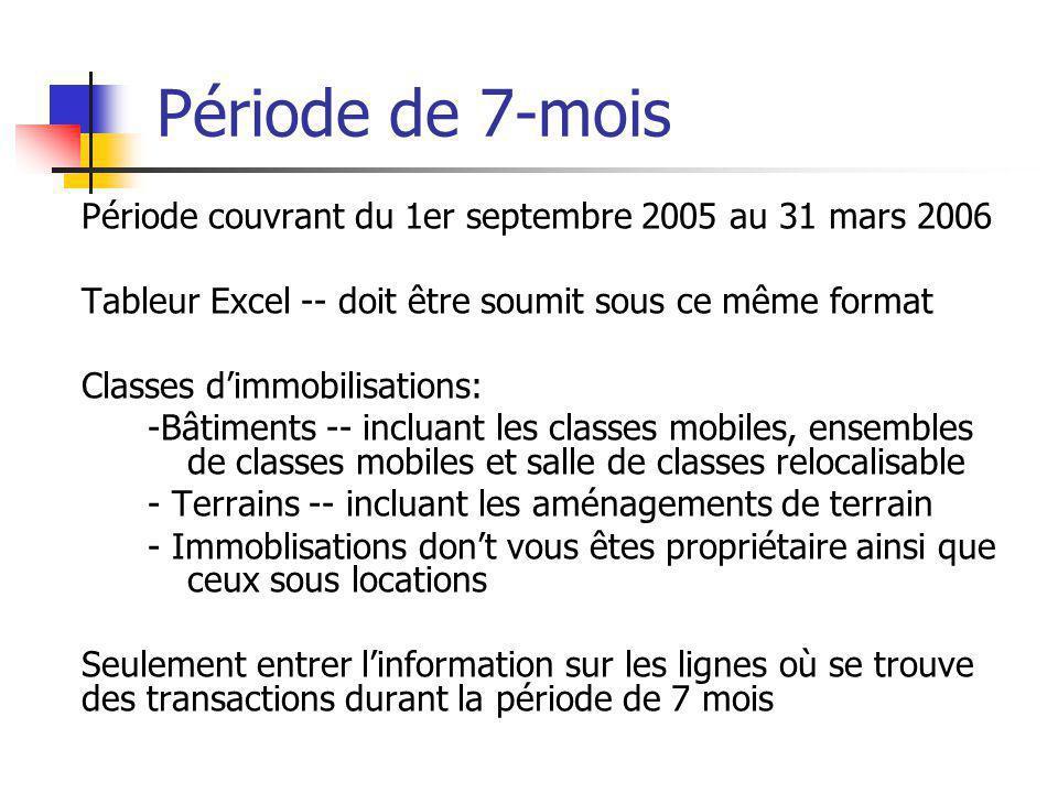 Période de 7-mois Période couvrant du 1er septembre 2005 au 31 mars 2006 Tableur Excel -- doit être soumit sous ce même format Classes dimmobilisations: -Bâtiments -- incluant les classes mobiles, ensembles de classes mobiles et salle de classes relocalisable - Terrains -- incluant les aménagements de terrain - Immoblisations dont vous êtes propriétaire ainsi que ceux sous locations Seulement entrer linformation sur les lignes où se trouve des transactions durant la période de 7 mois