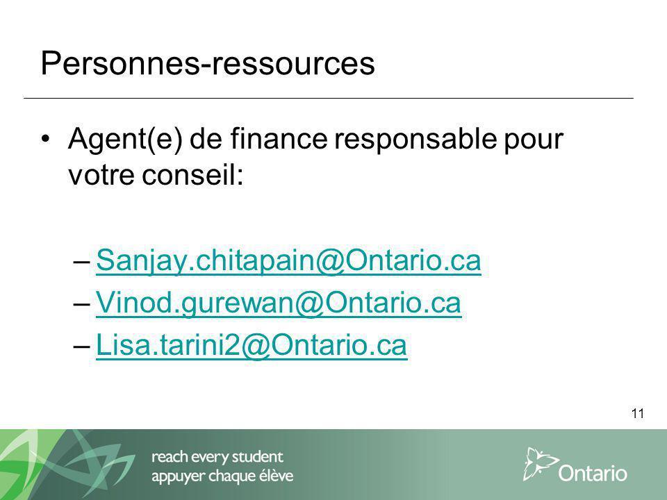 11 Personnes-ressources Agent(e) de finance responsable pour votre conseil: –Sanjay.chitapain@Ontario.caSanjay.chitapain@Ontario.ca –Vinod.gurewan@Ontario.caVinod.gurewan@Ontario.ca –Lisa.tarini2@Ontario.caLisa.tarini2@Ontario.ca
