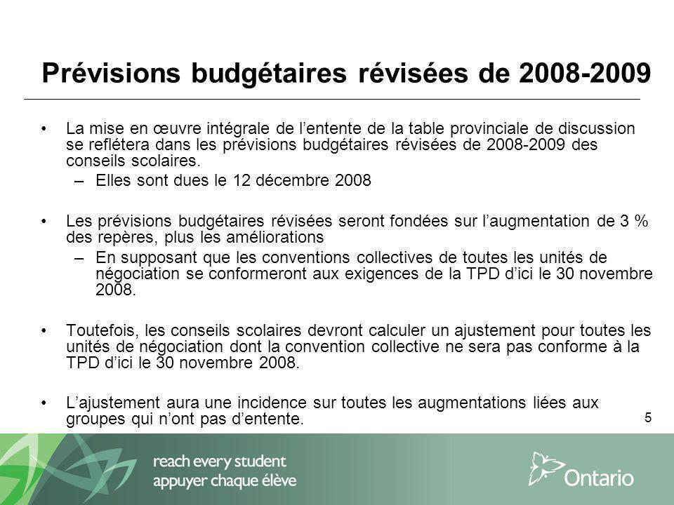 5 Prévisions budgétaires révisées de 2008-2009 La mise en œuvre intégrale de lentente de la table provinciale de discussion se reflétera dans les prévisions budgétaires révisées de 2008-2009 des conseils scolaires.