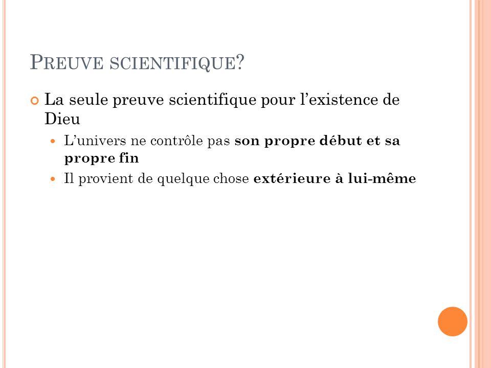 P REUVE SCIENTIFIQUE .