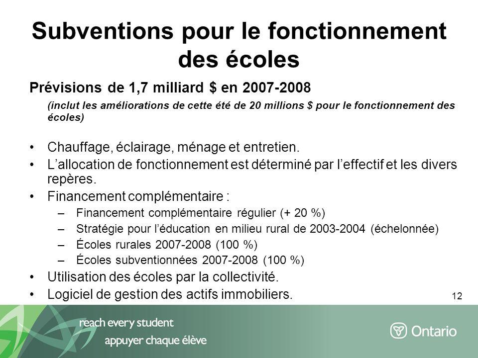 12 Subventions pour le fonctionnement des écoles Prévisions de 1,7 milliard $ en 2007-2008 (inclut les améliorations de cette été de 20 millions $ pour le fonctionnement des écoles) Chauffage, éclairage, ménage et entretien.