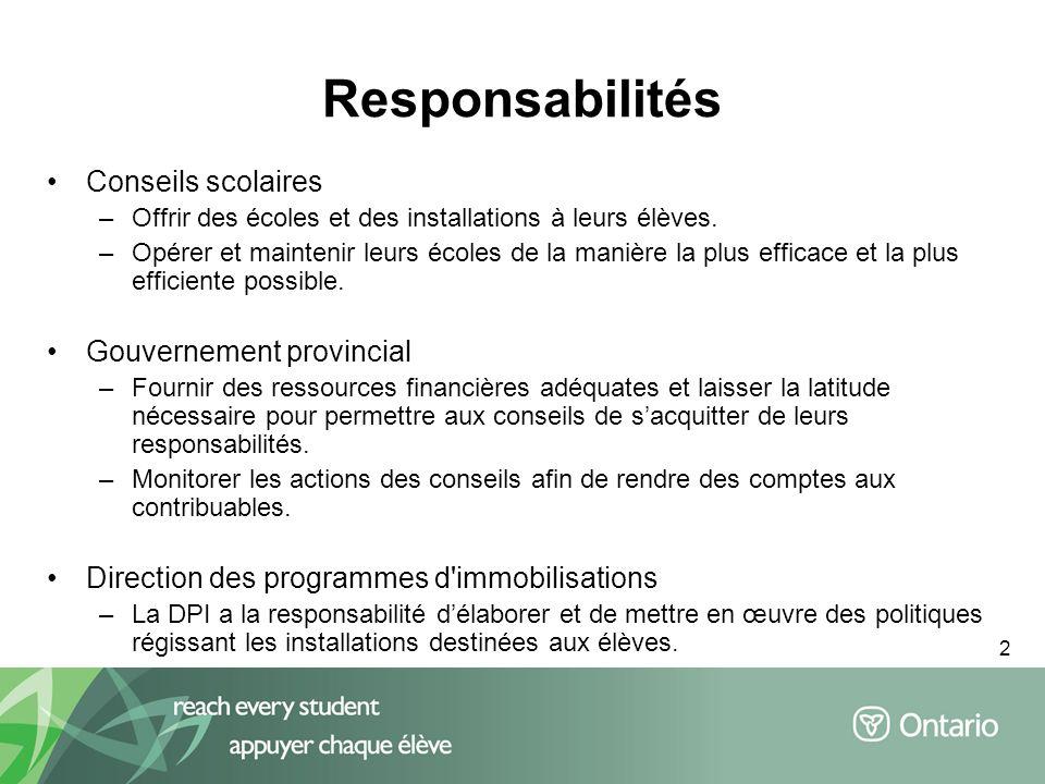2 Responsabilités Conseils scolaires –Offrir des écoles et des installations à leurs élèves.