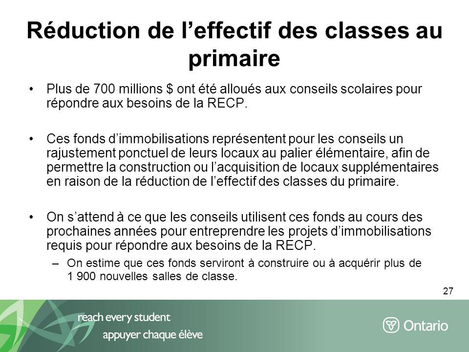 27 Plus de 700 millions $ ont été alloués aux conseils scolaires pour répondre aux besoins de la RECP. Ces fonds dimmobilisations représentent pour le