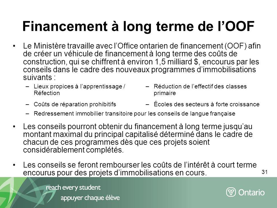 31 Financement à long terme de lOOF Le Ministère travaille avec lOffice ontarien de financement (OOF) afin de créer un véhicule de financement à long