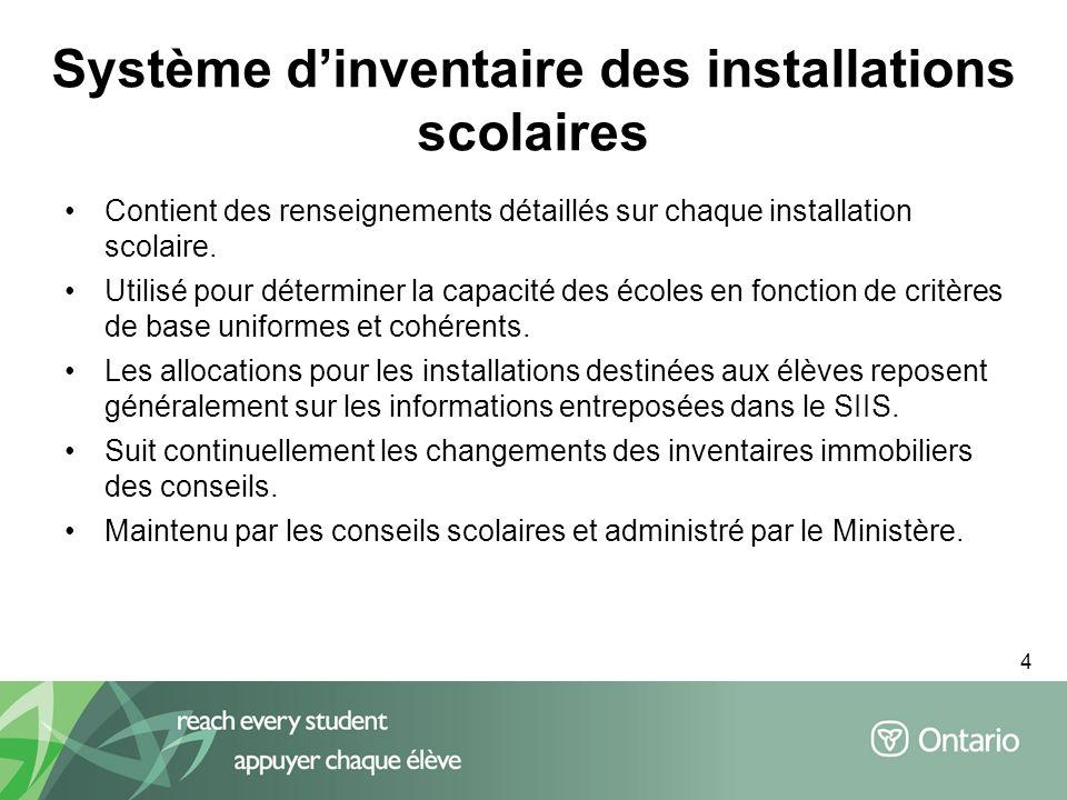 4 Système dinventaire des installations scolaires Contient des renseignements détaillés sur chaque installation scolaire. Utilisé pour déterminer la c