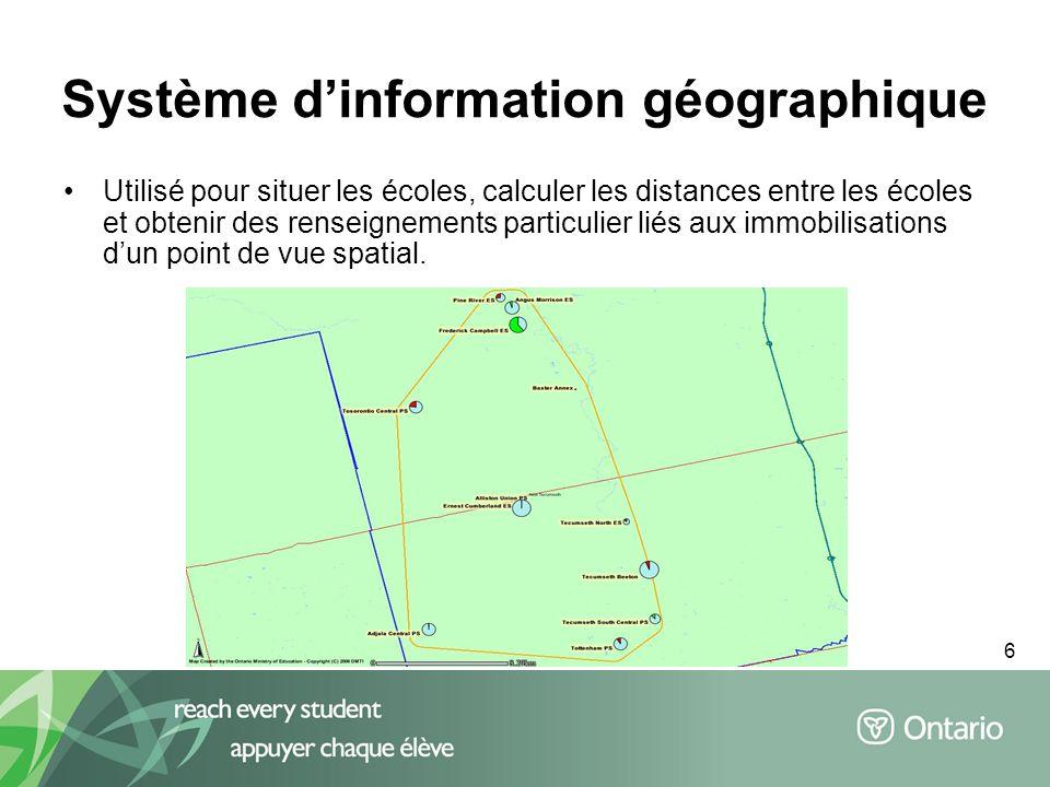 6 Utilisé pour situer les écoles, calculer les distances entre les écoles et obtenir des renseignements particulier liés aux immobilisations dun point de vue spatial.