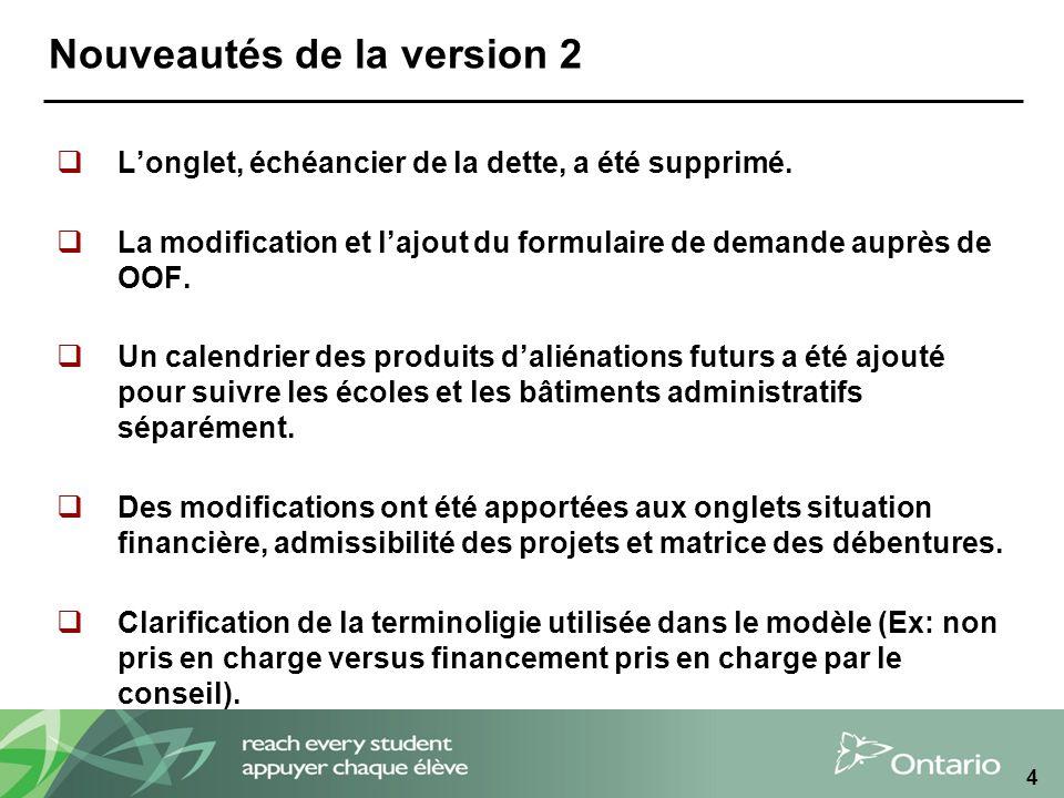 4 Nouveautés de la version 2 Longlet, échéancier de la dette, a été supprimé.
