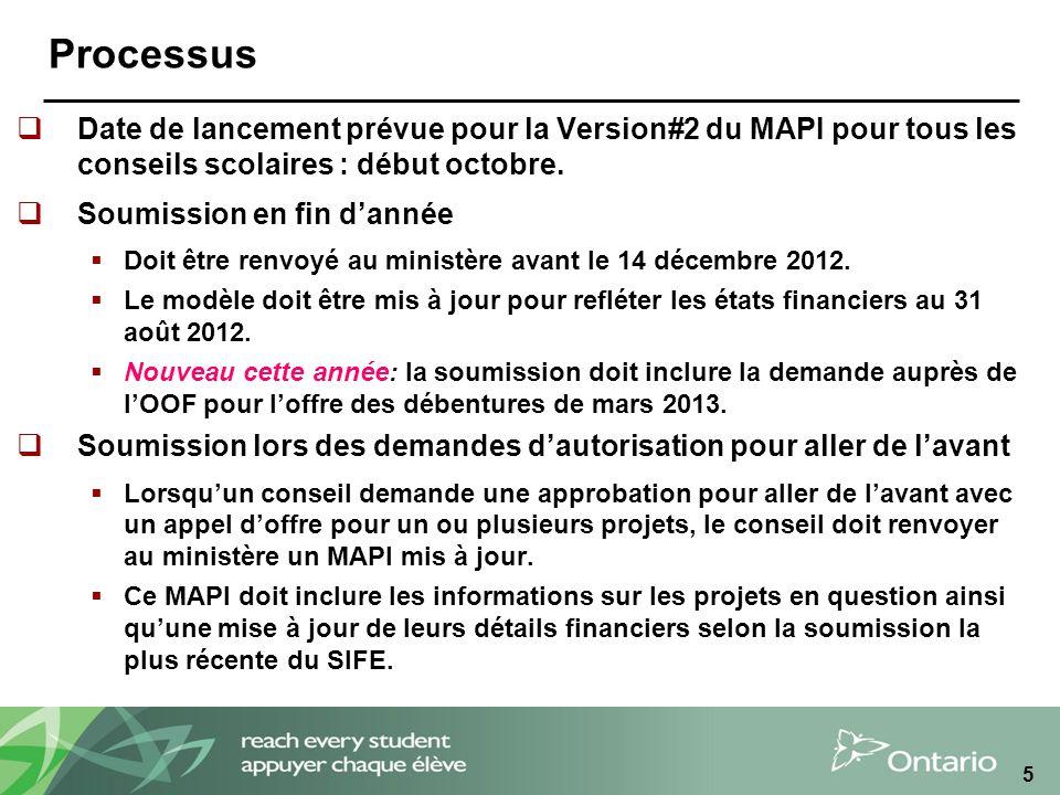 5 Processus Date de lancement prévue pour la Version#2 du MAPI pour tous les conseils scolaires : début octobre.