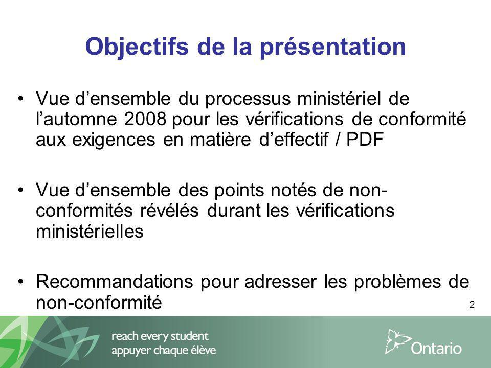 2 Objectifs de la présentation Vue densemble du processus ministériel de lautomne 2008 pour les vérifications de conformité aux exigences en matière d