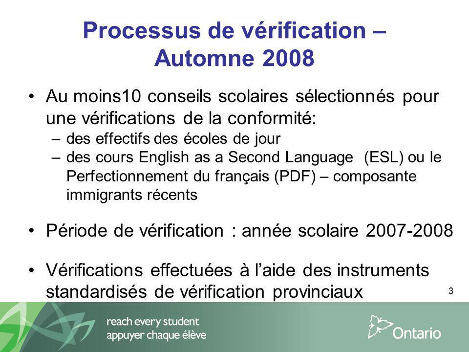 3 Processus de vérification – Automne 2008 Au moins10 conseils scolaires sélectionnés pour une vérifications de la conformité: –des effectifs des écol