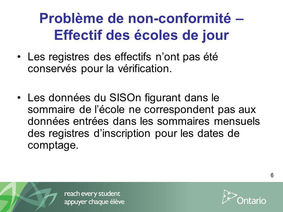 6 Problème de non-conformité – Effectif des écoles de jour Les registres des effectifs nont pas été conservés pour la vérification. Les données du SIS