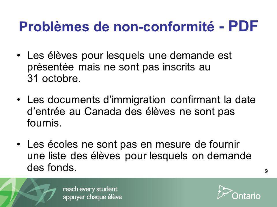 9 Problèmes de non-conformité - PDF Les élèves pour lesquels une demande est présentée mais ne sont pas inscrits au 31 octobre. Les documents dimmigra