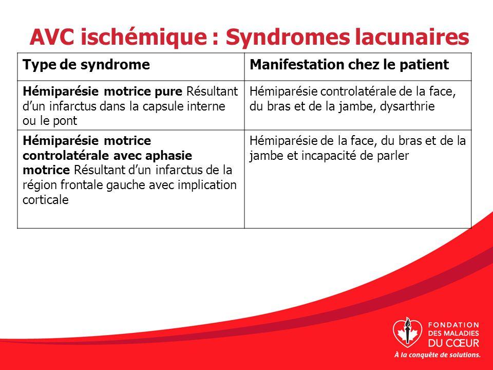 AVC ischémique : Syndromes lacunaires Type de syndromeManifestation chez le patient Hémiparésie motrice pure Résultant dun infarctus dans la capsule i