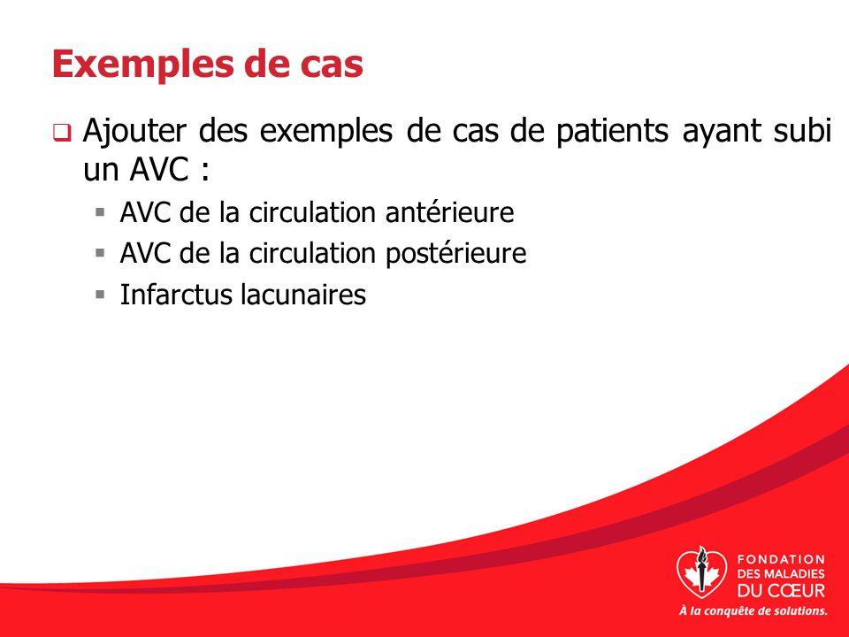 Exemples de cas Ajouter des exemples de cas de patients ayant subi un AVC : AVC de la circulation antérieure AVC de la circulation postérieure Infarct