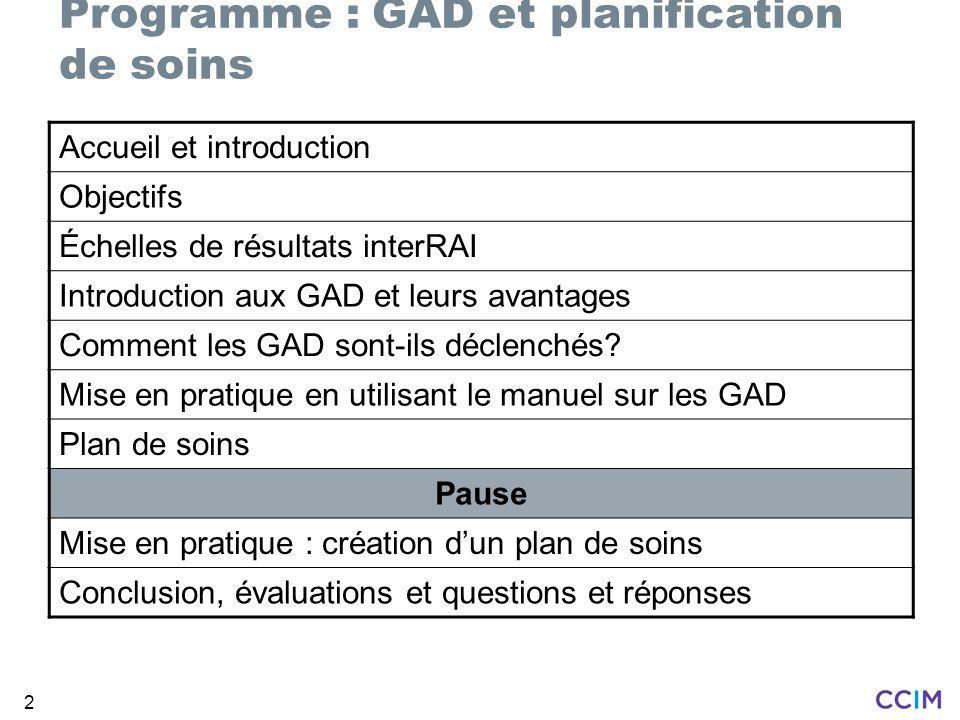 2 Accueil et introduction Objectifs Échelles de résultats interRAI Introduction aux GAD et leurs avantages Comment les GAD sont-ils déclenchés.