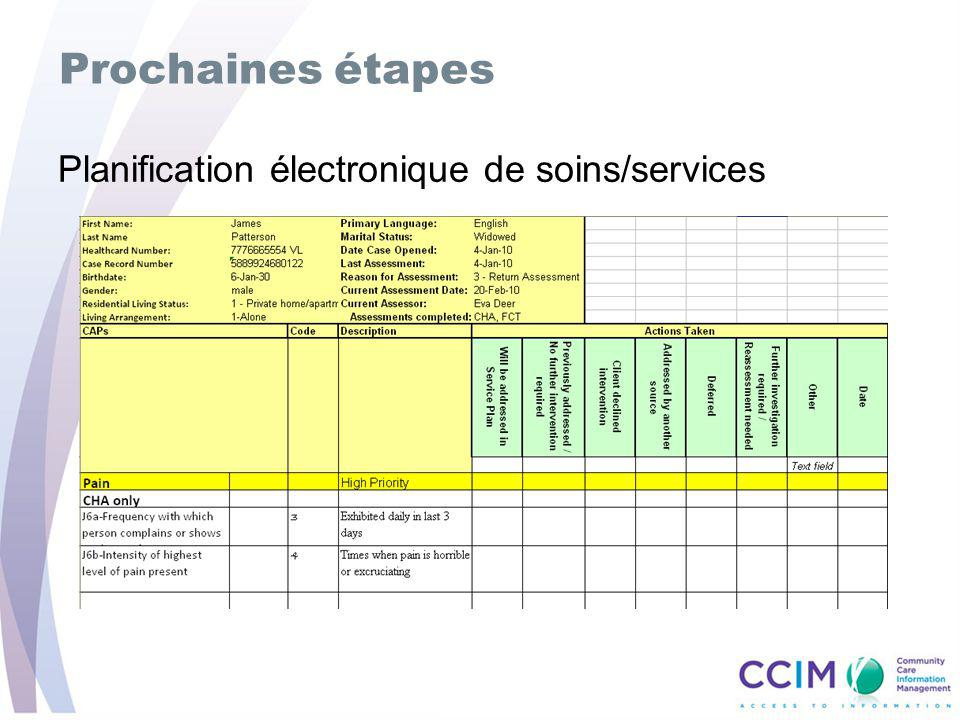 Prochaines étapes Planification électronique de soins/services