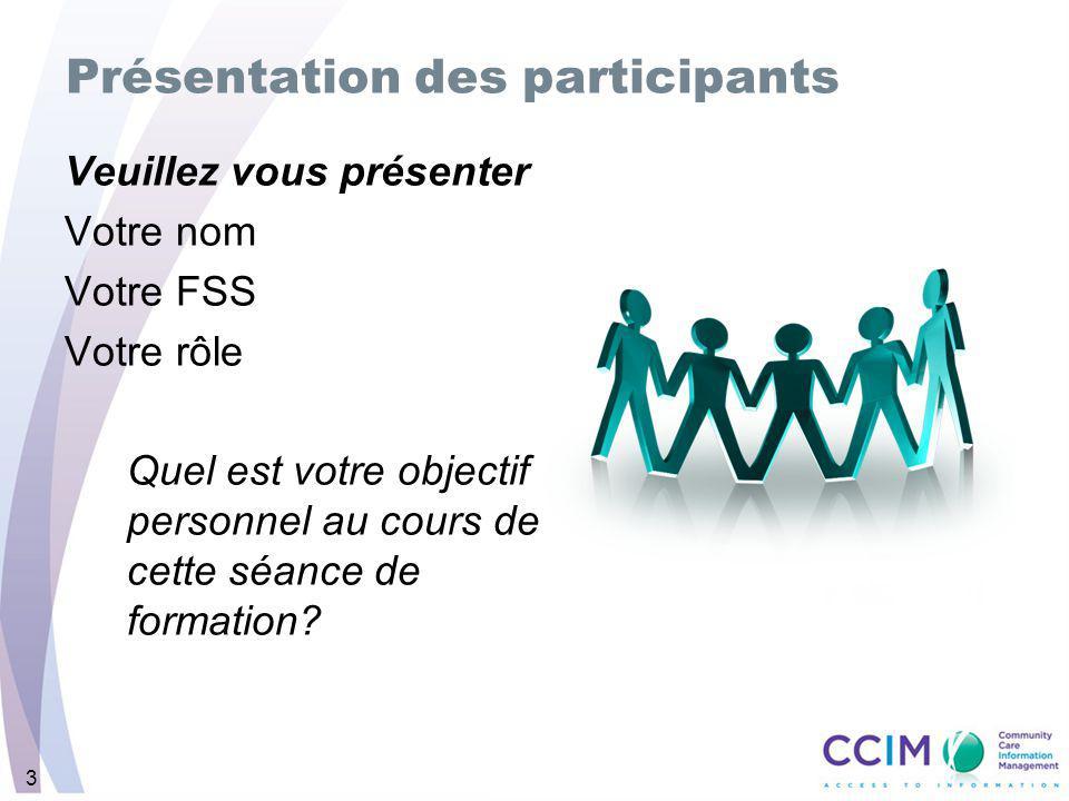 3 Veuillez vous présenter Votre nom Votre FSS Votre rôle Quel est votre objectif personnel au cours de cette séance de formation.